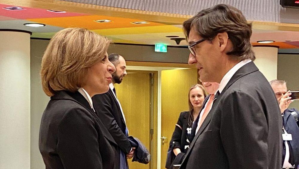 Salvador Illa, ministro de Sanidad, junto a Stella Kyriakides, comisaria de Salud de la UE (Foto: @UeEspana)