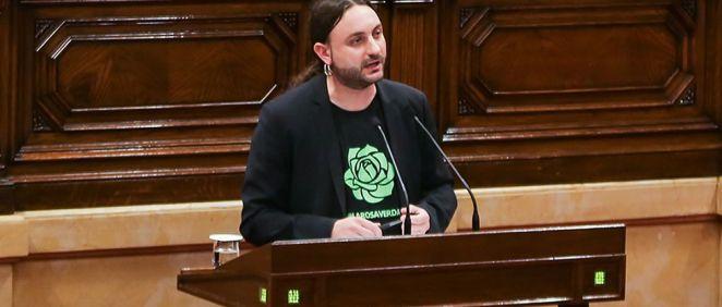 El psicólogo social e investigador, David Pere Martínez Oró, durante una intervención en el Parlamento catalán. (Foto. DPMO)