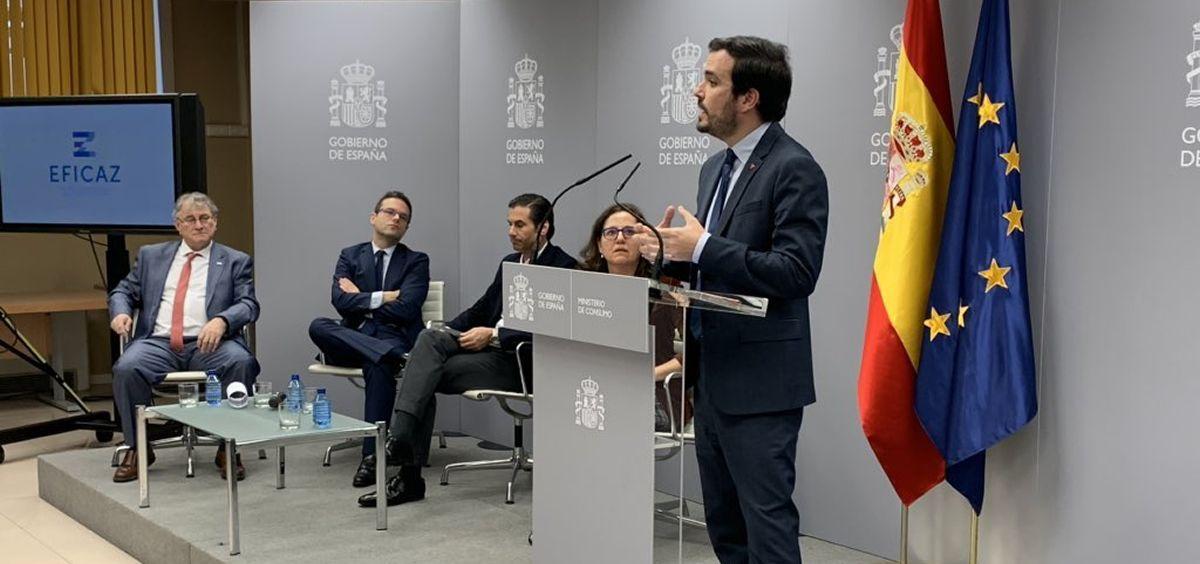 El ministro de Consumo, Alberto Garzón, durante una rueda de prensa. (Foto. @agarzon)