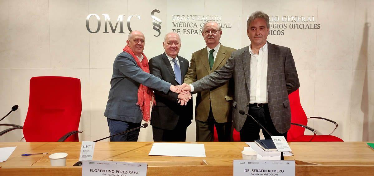 De izquierda a derecha: Gabriel del Pozo, Florentino Pérez Raya, Serafín Romero y Manuel Cascos (Foto: Consejo General de Enfermería)