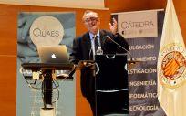 Mariano Barbacid durante su conferencia en el I Foro de Medicina Personalizada de Fundación Quaes (Foto. ConSalud)