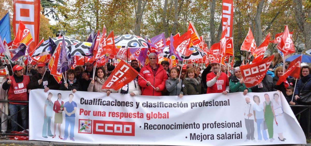 Protestas de los TCAEs. (Foto. CCOO)