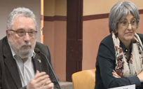 El secretario de Salut Pública, Joan Guix, acompañado de la gerente de procesos integrales de Salut del Servei Català de la Salut, Assumpta Ricard
