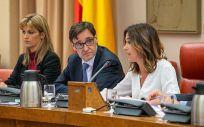El ministro de Sanidad, Salvador Illa, junto a la presidenta de la Comisión, Rosa Romero (Foto: Congreso de los Diputados)