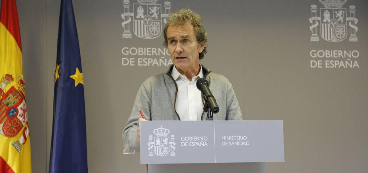 Fernando Simón atiende a los medios de comunicación en el Ministerio de Sanidad (Foto: @sanidadgob)