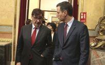 Salvador Illa y Pedro Sánchez, en el Congreso de los Diputados (Foto: La Moncloa)