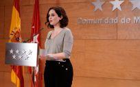 La presidenta de la Comunidad de Madrid, Isabel Díaz Ayuso, comparece ante la opinión pública (Foto: Comunidad de Madrid)