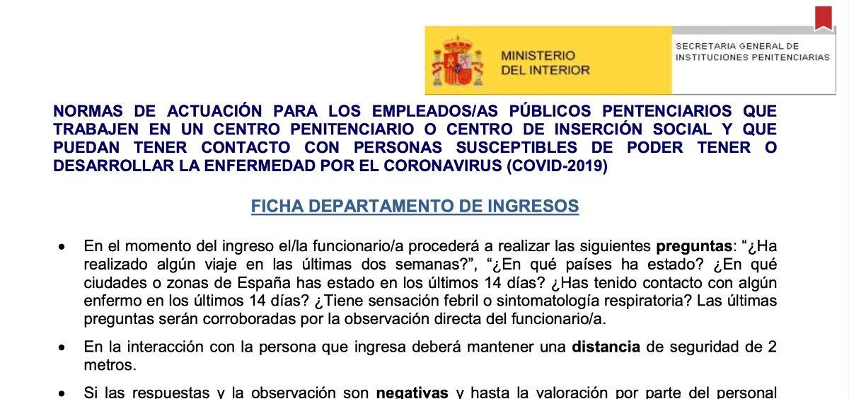 Protocolo de la Secretaría General de Instituciones Penitenciarias para los empleados públicos penitenciarios que puedan tener contacto con personas susceptibles de tener o desarrollar coronavirus Covid-19.