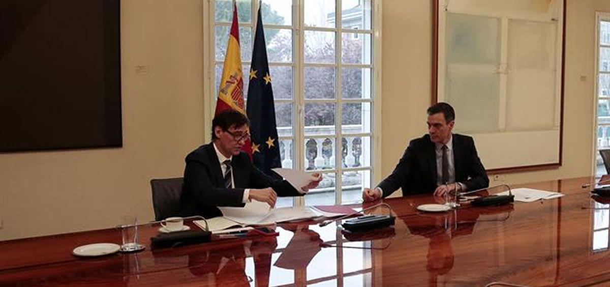 Salvador Illa, ministro de Sanidad, y Pedro Sánchez, presidente del Gobierno, durante la gestión del coronavirus (Foto. La Moncloa)