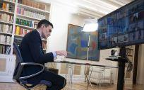 El presidente del Gobierno, Pedro Sánchez, durante su participación en el Consejo Europeo ordinario que se celebra por videoconferencia (Foto. La Moncloa)