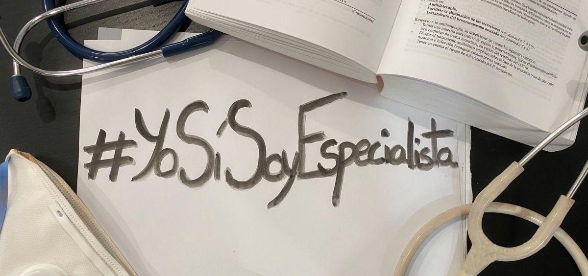 Los MIR de último año se movilizan en redes sociales a través del hashtag #YoSíSoyEspecialista. (Foto cedida: Mario Franco Chacón / @mariofranco53)