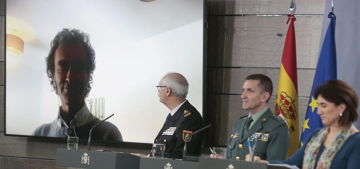 El jefe de Emergencias, Fernando Simón, interviene en la rueda de prensa del Comité Técnico del coronavirus desde su domicilio.