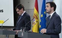 Los ministros de Consumo y Sanidad, Alberto Garzón y Salvador Illa, en rueda de prensa telemática (Foto: La Moncloa)