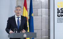 El ministro del Interior, Fernando Grande-Marlaska, en rueda de prensa telemática (Foto: La Moncloa - Borja Puig de la Bellacasa)