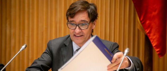 El ministro de Sanidad, Salvador Illa, en la Comisión de Sanidad del Congreso de los Diputados (Foto. Flickr PSOE)