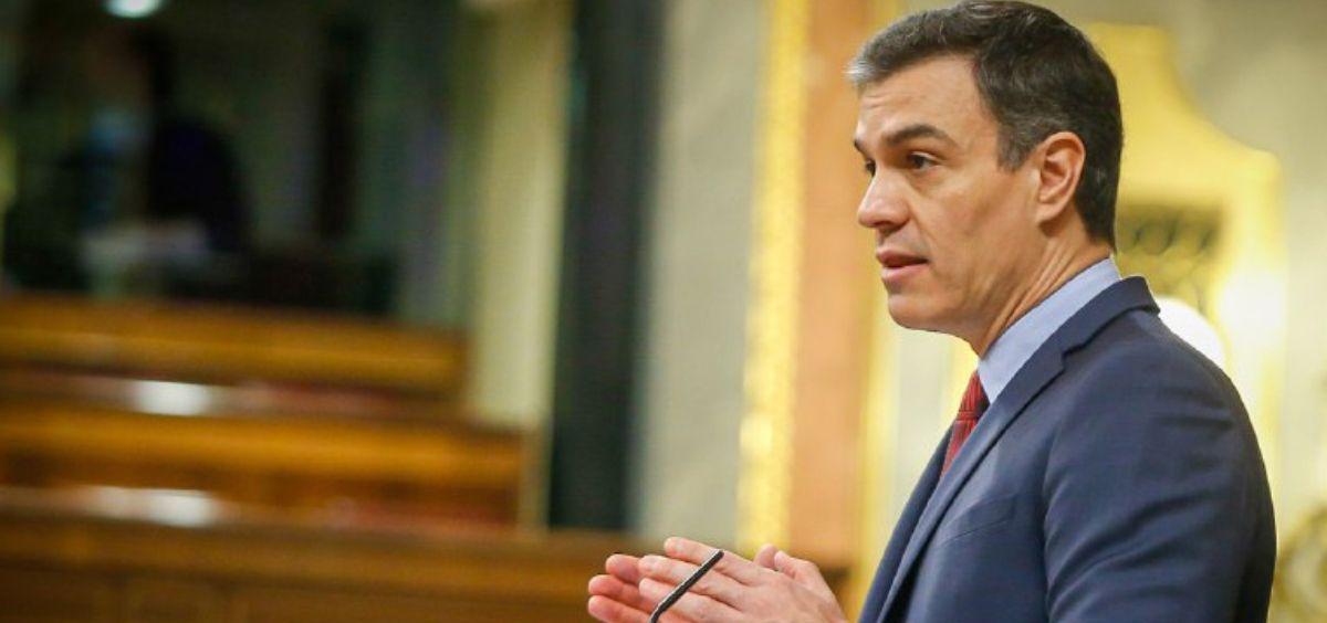 El presidente del Gobierno, Pedro Sánchez, interviniendo en el Congreso de los Diputados. (Foto. Congreso)