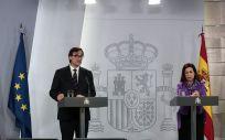 El ministro de Sanidad, Salvador Illa, durante la rueda de prensa posterior a la videoconferencia de presidentes. (Foto. Moncloa)