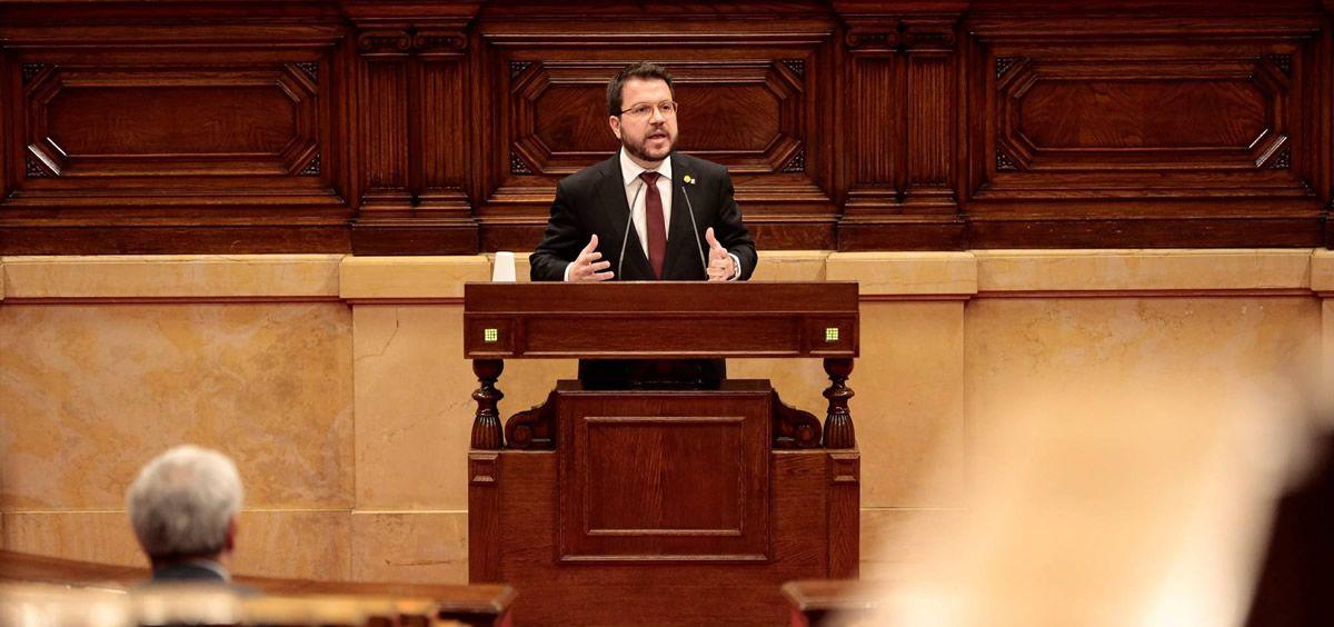 El vicepresidente de la Generalitat y consejero de Economía, Pere Aragonès, durante el pleno del Parlamento catalán de este viernes. (Foto. Generalitat de Cataluña)