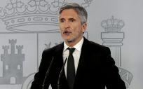 El ministro del Interior, Fernando Grande Marlaska, en rueda de prensa telemática (Foto: La Moncloa)