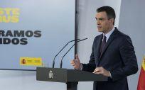 El presidente del Gobierno, Pedro Sánchez, en rueda de prensa telemática (Foto: La Moncloa)