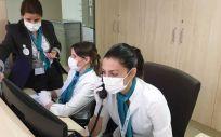 Personal de Admisión trabajando actualmente en el Hospital Quirónsalud Málaga. (Foto. ConSalud)