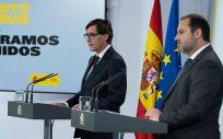 El ministro de Sanidad, Salvador Illa y el ministro de Fomento, José Luis Ábalos. (Foto. Pool Moncloa / Borja Puig de la Bellacasa)