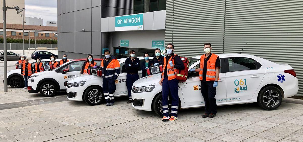 Los profesionales del 061 Aragón, equipados para hacer frente al coronavirus (Foto: Gobierno de Aragón)