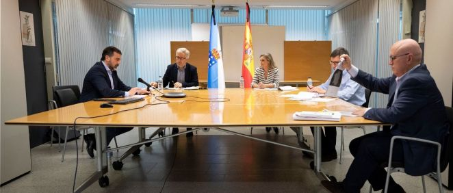 Reunión telemática del equipo directivo del Servicio Gallego de Salud (Sergas) con los colectivos sanitarios. (Foto. Xunta)