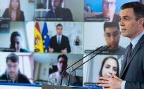 El presidente del Gobierno, Pedro Sánchez, en una rueda de prensa telemática. (Foto. La Moncloa) (1)