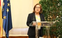 Pilar Ventura en la rueda de prensa en la que ha anunciado su dimision (Foto. Gobierno de Aragón)