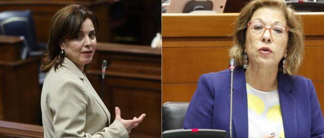 Teresa Cruz (izda), exconsejera de Sanidad de Canarias y Pilar Ventura (dcha), exconsejera de Sanidad del Gobierno de Aragón (Fotos. Gobiernos de Canarias y Aragón)