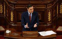 El presidente del Gobierno, Pedro Sánchez, interviniendo en el Congreso (Foto: Flickr PSOE)