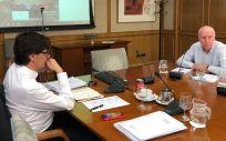 Salvador Illa y Faustino Blanco, durante una de las reuniones bilaterales con las comunidades autónomas