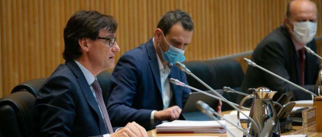 El ministro de Sanidad, Salvador Illa, interviene en la Comisión de Sanidad del Congreso de los Diputados (Foto: Congreso)
