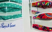 """Mascarillas para sordos diseñadas por """"Yo me pongo a coser"""" (Foto. David Ledo)"""