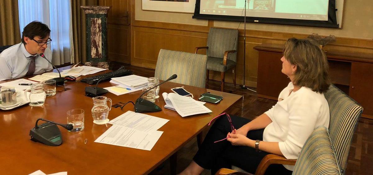 Salvador Illa y Teresa Ribera, durante la reunión con la Comunidad de Madrid (Foto: La Moncloa)