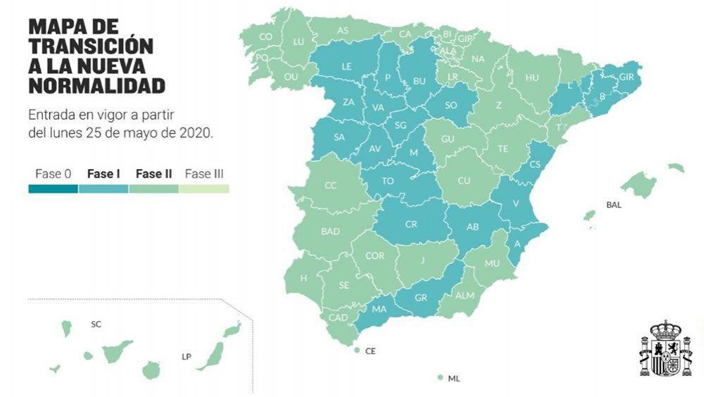 Mapa de transición a una nueva normalidad (Foto. Gobierno de España)