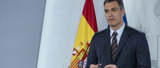 El presidente del Gobierno, Pedro Sánchez, durante la rueda de prensa telemática en La Moncloa. (Foto. Pool Moncloa/Borja Puig de la Bellacasa)