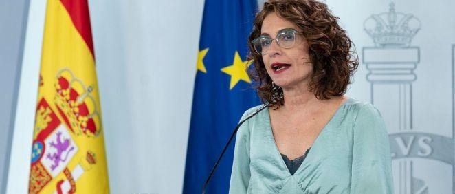 La portavoz del Gobierno y ministra de Hacienda, María Jesús Montero. (Foto. Pool Moncloa)
