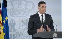 El presidente del Gobierno, Pedro Sánchez, durante su intervención (Foto: La Moncloa)