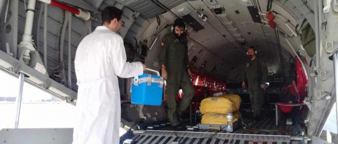 Traslado de un órgano donado en una aeronave militar (Foto: ONT)