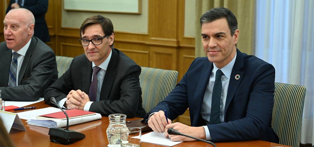 El presidente del Gobierno, Pedro Sánchez, junto al ministro de Sanidad, Salvador Illa. (Foto. Pool Moncloa / Borja Puig de la Bellacasa)