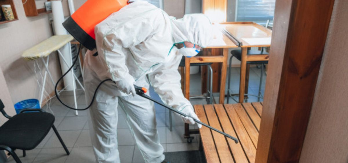 Profesional realizando labores de desinfección (Foto. Freepik)
