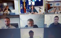 Imagen durante la reunión telemática con los jugaodres (Foto. @lozanoirene)