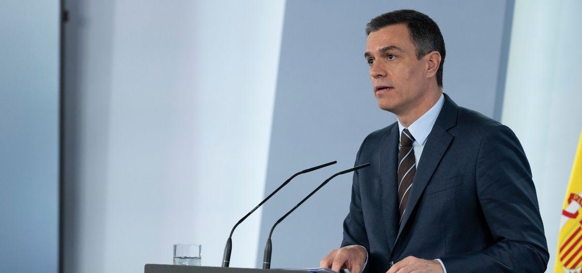 El presidente del Gobierno, Pedro Sánchez, en una rueda de prensa en Moncloa. (Foto. Pool Moncloa y Borja Puig de la Bellacasa)