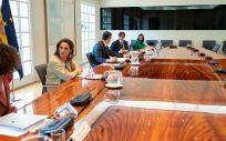 Un momento de la videoconferencia de presidentes celebrada este pasado domingo. (Pool Moncloa y Borja Puig de la Bellacasa)