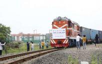 Primer tren con suministros sanitarios parte de China (Foto. Ministerio de Sanidad)