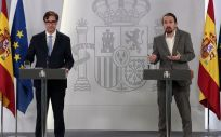 Salvador Illa, ministro de Sanidad, y Pablo Iglesias, vicepresidente segundo del Gobierno y ministro de Derechos Sociales y Agenda 2030 (Foto: Moncloa)