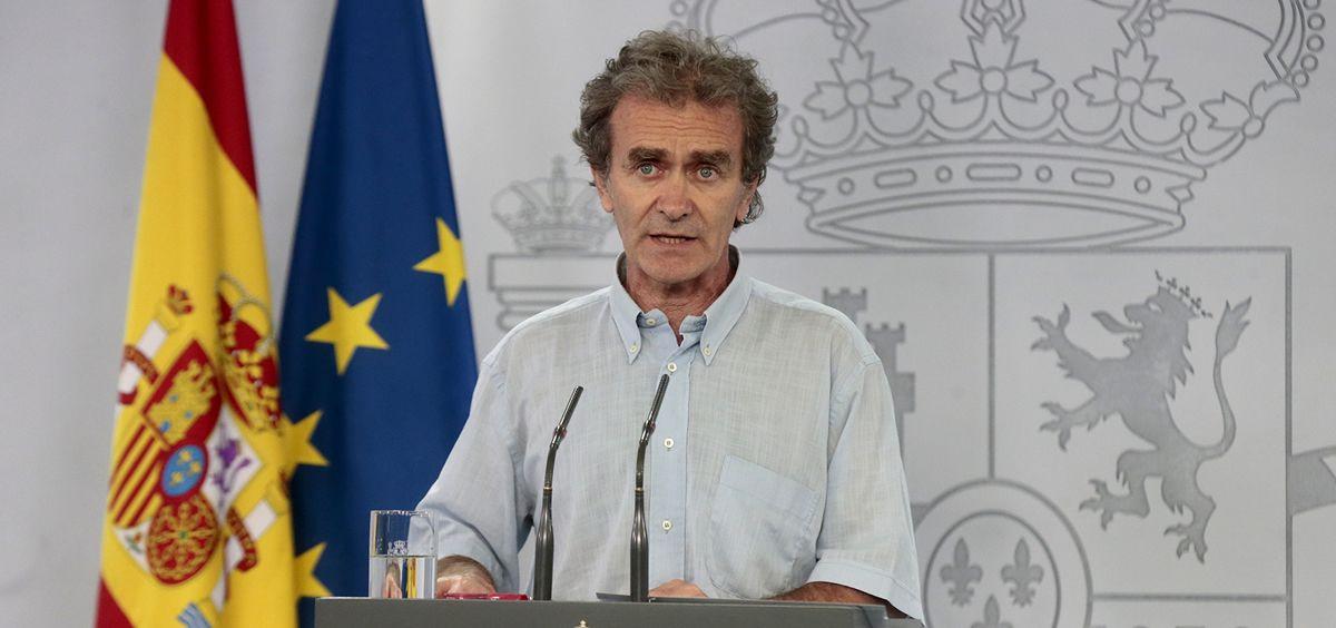 El máximo responsable del CCAES, el doctor Fernando Simón, en rueda de prensa (Foto. La Moncloa)