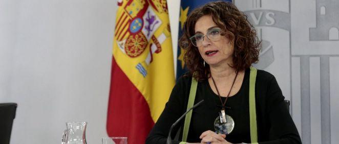 María Jesús Montero, portavoz del Gobierno, tras el Consejo de Ministros (Foto: Pool Moncloa / JM Cuadrado)